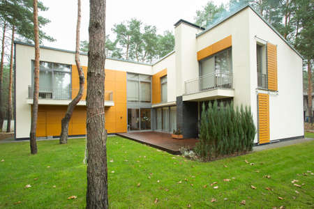 Front of modern detached house with garden