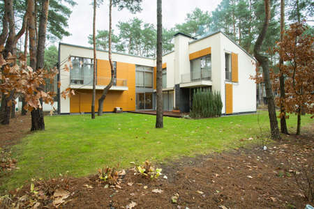 Modern house from the outside with garden