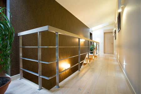 Horizontal view of hall inside modern apartment