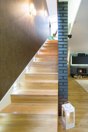 Close-up of wooden stairs in luxury residence Stock Photo