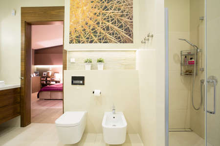 Luxury hotel room with beauty private toilet