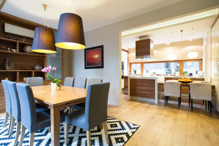 Kitchen and dining room in modern design interior