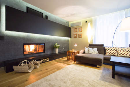 Modern fireplace in cozy luxury drawing room