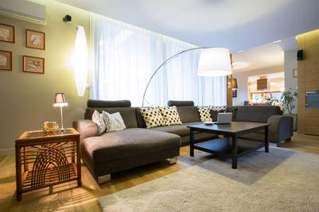 View of living room in modern designed interior Stock Photo