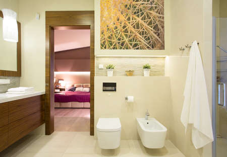 Image of romantic bedroom with private bathroom