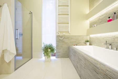 radiador: Ba�era y ducha en el espacioso ba�o de lujo Foto de archivo