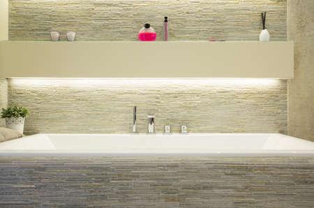 Close-up of porcelain bath in luxury bathroom