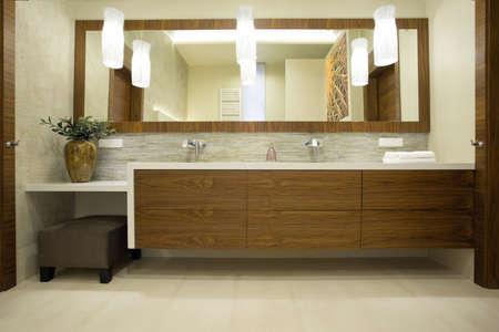 bathroom tile: Image of modern design of wooden bathroom units Stock Photo