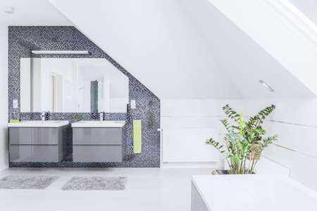 modern bathroom: Horizontal view of modern exclusive bathroom design
