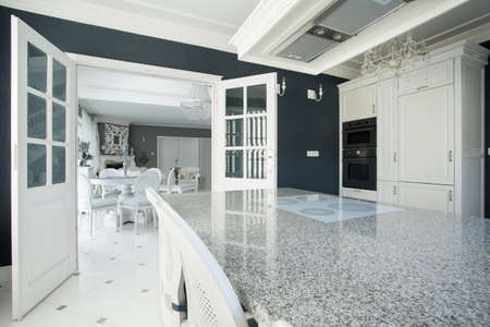luxury house: View of expensive kitchen with marble worktop Stock Photo