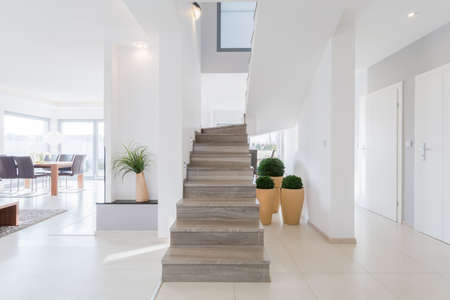 stairs interior: Horizontal view of bright spacious detached house