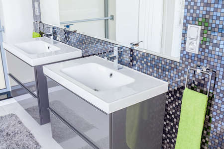 washbasins: Gray contemporary toilet design with two washbasins