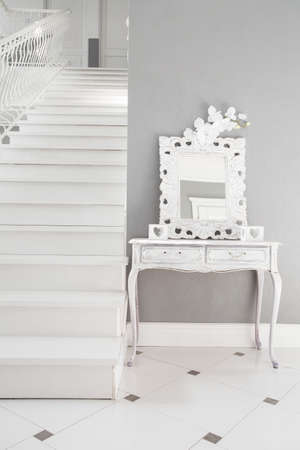 stairs interior: View of white stairs in a residence