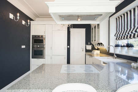 expensive: View of marble worktop in expensive kitchen