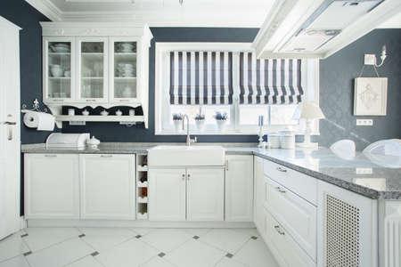 Interior of white and grey kitchen, horizontal Stock Photo