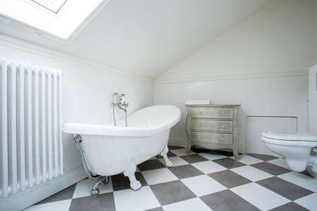 View of bright bathroom in the attic