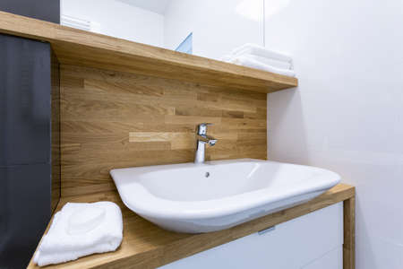 Picture of toilet interior with wooden design