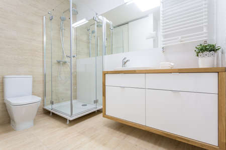 View of washroom interior in traditional design