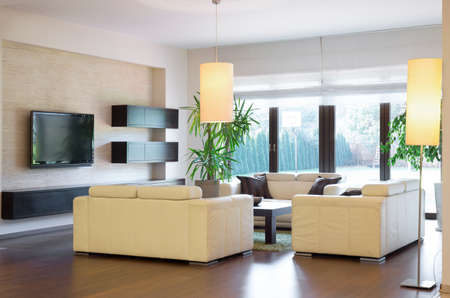 home furniture: Image of new luxurious lounge with wooden parquet