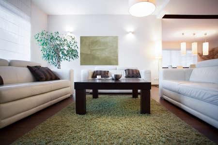 Small coffee table in modern cozy living room Zdjęcie Seryjne
