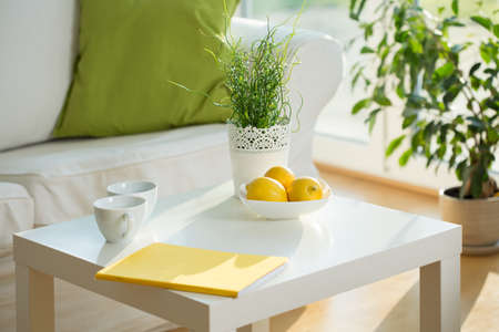 Close-up of white table in living room