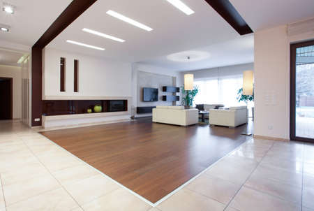 Photo of enormous house with spacious bright living room Фото со стока