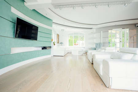 comfort room: Crystal interior with tv on the wall