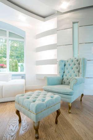 vintage furniture: View of vintage furniture inside crystal interior Stock Photo