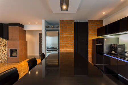 cosy: Modern but cosy apartment with fireplace Stock Photo