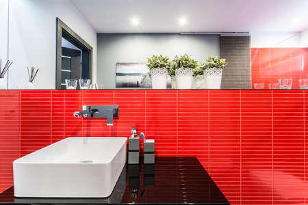 Elegante bagno con piastrelle lavello e rosse foto royalty free
