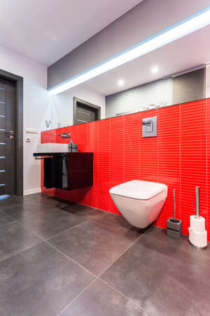 Elegant toilet with big mirror covered in red tiles photo