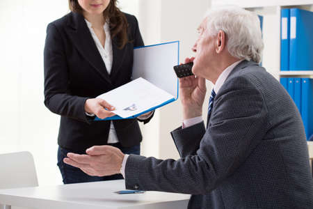 first job: Woman during her first job interview, horizontal Stock Photo