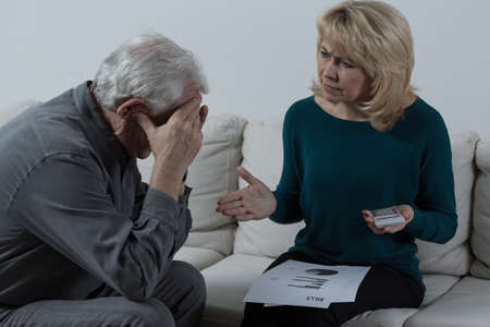 unpaid: Picture of senior couple having financial troubles Stock Photo
