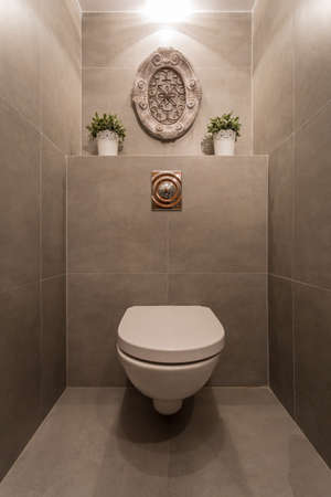 Image of new modern toilet with marble tiles