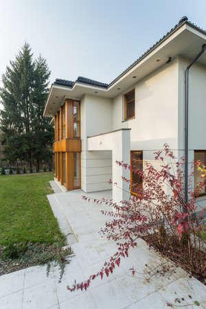 Small pink tree behind big modern house photo
