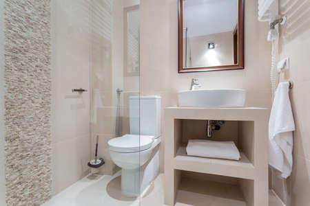 Salle de bains moderne avec douche avec porte en verre Banque d'images - 38335689