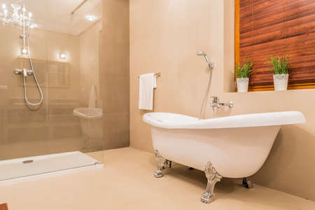 bathtub: Modern design of new bathroom with glass shower and porcelain bathtub