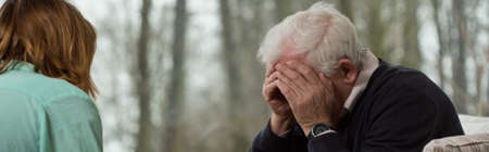 neurosis: Image of broken down older man at psychotherapists office