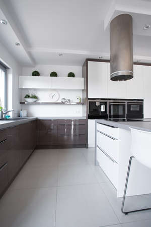 cupboards: Picture of wooden cupboards in modern kitchen