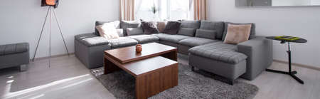 Designed corner sofa and coffee table - panorama photo