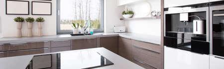 Wooden kitchen cabinet in bright modern kitchen