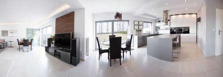 Panorama of luxury interior in contemporary design photo