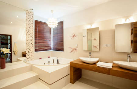 Inside the luxury stylish bathroom Stock Photo