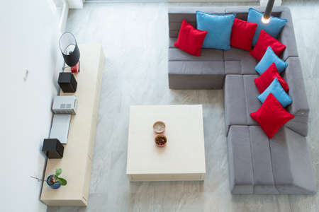 View from the top of up-to-date luxury family room
