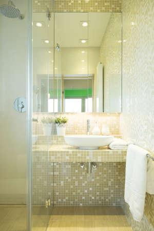 New modern shower in luxury marble bathroom photo