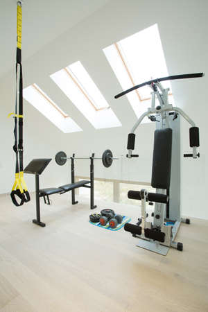weight room: Big home gym in modern luxury house