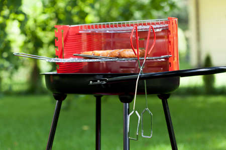 garden barbecue: Horizontal view of sausages on charcoal grill