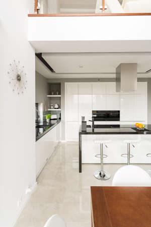 contemporary kitchen: Stylish contemporary kitchen in luxury detached house Stock Photo
