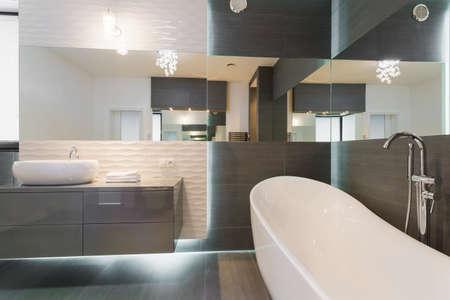 멋진 현대적인 욕실 디자인에 독립 구조로 서있는 욕조