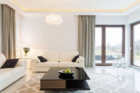 apartment interior: Cream sofa in luxury designed sitting room